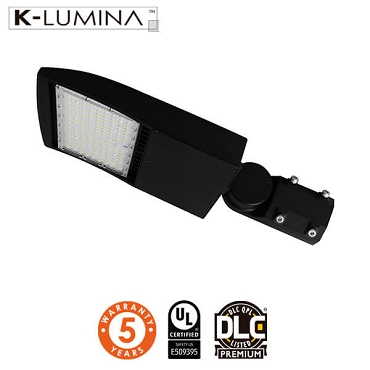 LED Shoebox/Street Light – 150W – 140lm/W, Adjustable Mount, T3 Lens – 5 Year Warranty – UL&DLC